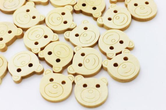 Wooden Buttons ~ 30 x Teddy Beads