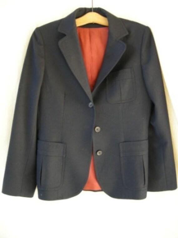 Vintage I. Magnin Navy Wool Boyfriend Blazer