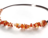 Carnelian chips center and caocho necklace, statement gemstone necklace, beaded necklace, contemporary jewelry, crystal necklace
