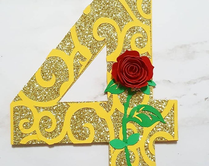 Featured listing image: Beauty & the Beast inspired number Cake Topper