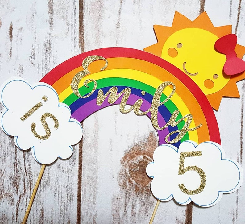 Double sided Sunshine & Rainbow Cake topper with name and age