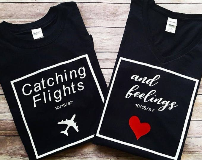 Featured listing image: Catching Flights & Feelings | Couples Travel Shirts | Couples Matching Vacation Tee | Honeymoon | Anniversary