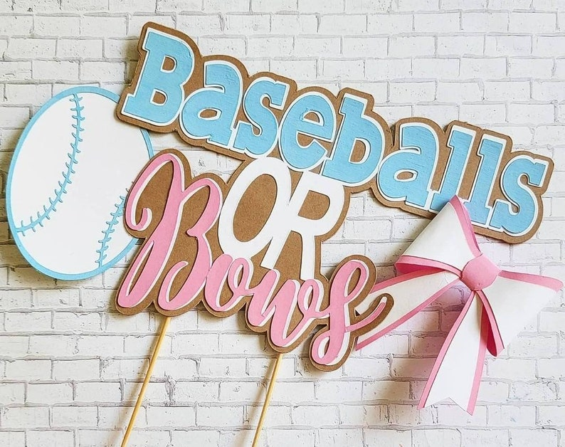 Baseballs or Bows cake topper image 1
