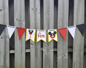 Mickey Mouse I am One banner | Highchair banner