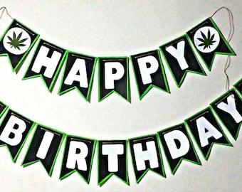 Cannabis leaf birthday banner | 420 Banner