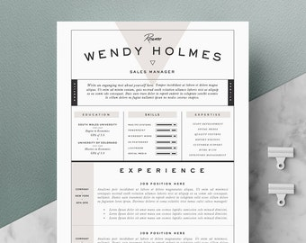 "Resume Template / CV Template + Cover Letter for Word ( 3 page pack ) | Instant Digital Download | The ""Expresso"""