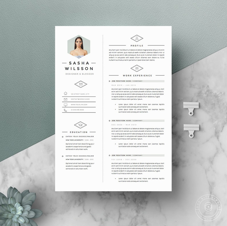 5 page Resume Template / CV Template Pack  Cover Letter for image 0