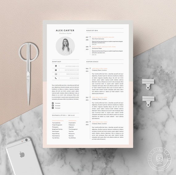 Modern Resume Template Cover Letter Icon Set For Microsoft Etsy
