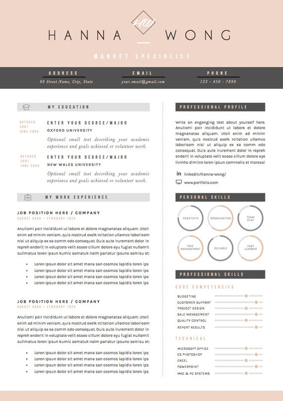 Resume Template / CV Template Cover Letter & References ...