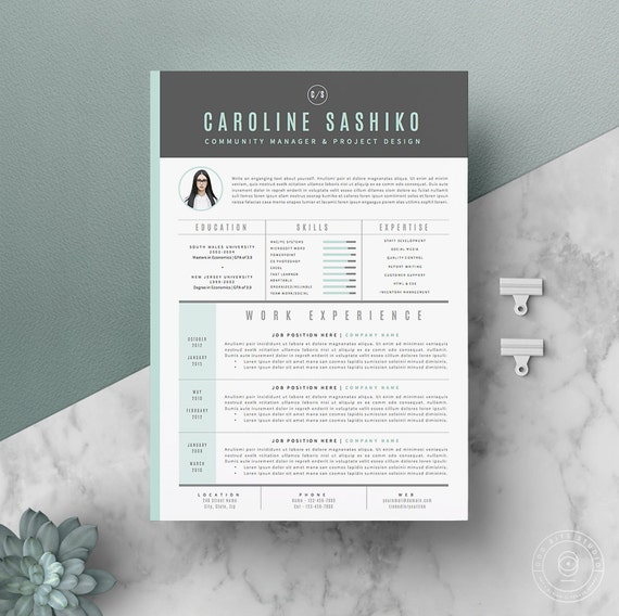 Resume Template / CV Template Cover Letter For Word 4 Page