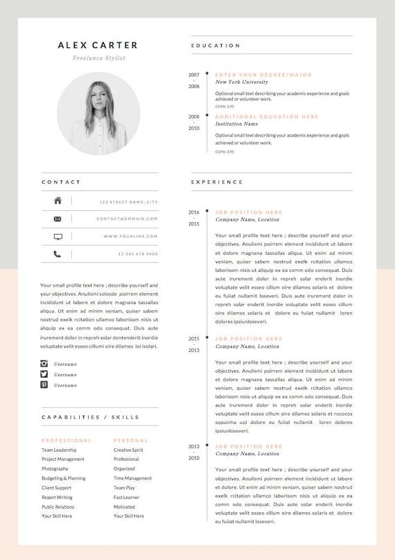 Modèle De Cv Moderne Lettre D Accompagnement Icône Set Pour Microsoft Word Pack De 4 Pages Cv Professionnel Téléchargement Instantané Le