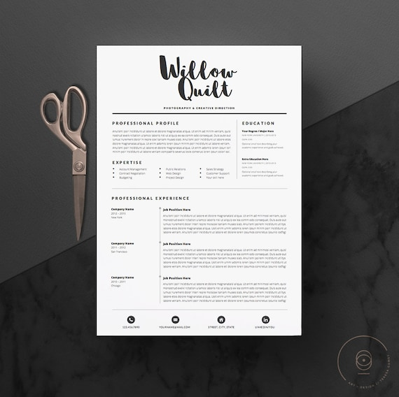 5 Page Resume Template Cv Template Pack Cover Letter References For Microsoft Word Icon Pack Instant Digital Download The Ink
