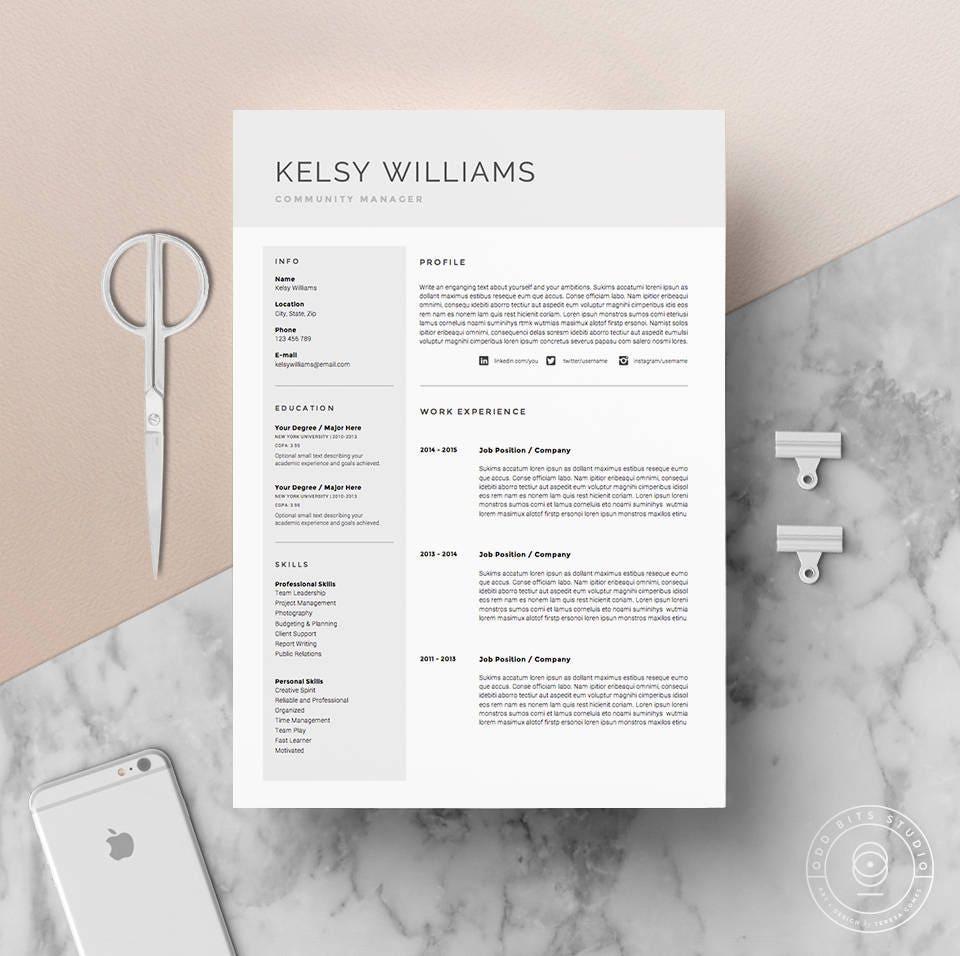 5 página curriculum vitae plantilla / Pack de plantilla de CV | Etsy