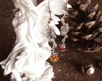 Amber - sunset beautiful dangling earrings