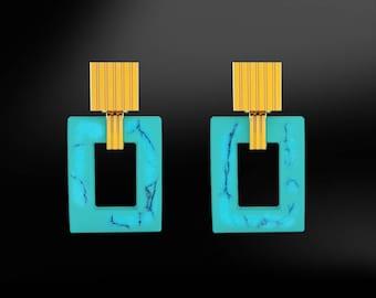 TURQUOISE Hoop Octagonal Squared Earrings