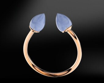 Blue AGATE Gold Ring