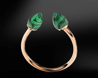 MALACHITE Gold Ring