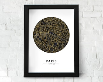 Paris City Map Instant Download, Stylised Map of France, City Map Wall Art, Paris Map, Travel Poster, Printable, Map Print