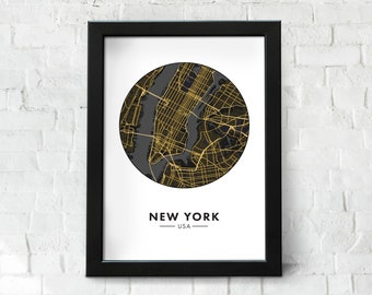 New York City Map Instant Download, Stylised Map of NYC, City Map Wall Art, NYC Map, Travel Poster, Printable, Map Print