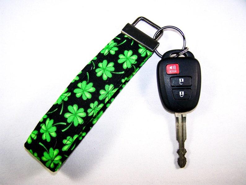 SHAMROCK GREEN CLOVER  Fabric Key Fob  Lucky Key Fob Gift  Stocking Stuffer Gift  Shamrock Irish Gift  Preppy Lucky Clover Gift