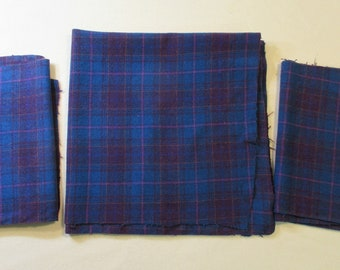 Purple and Black Plaid Wool Blend Fabric Turquoise 43 x 62 wide
