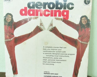 "Aerobic dancing Vinyl,  Vintage Fitness LP, 12"" Eighties Vinyl Record, Barbara Ann Auer exercise program, 1980 Fitness workout album, sealed"
