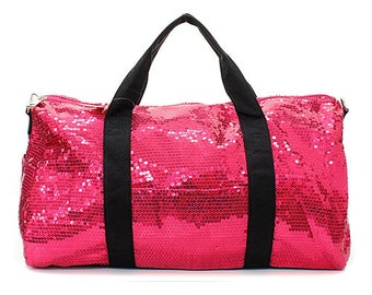 2 Tone Sequin Cheer Dance Yoga Girly Duffle Bag WITH FREE MONOGRAM b925bc6a3f295
