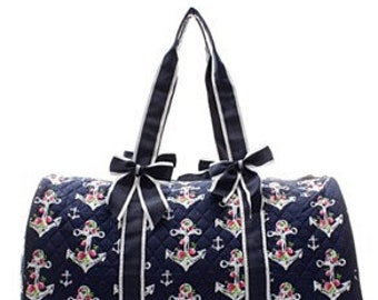 Quilted Flora Anchor Shoulder Duffel Bag with free monogram f07abb4387327