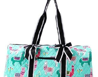 Quilted Llama Shoulder Duffel Bag with free monogram 2393ec5cc8abf