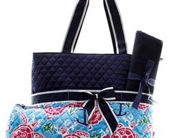 Baby Gift Navy Coral Mint FREE Custom Name Personalized Quilted SEA TURTLE Print 3pc Diaper Bag Set Changing Pad /& Tote Included