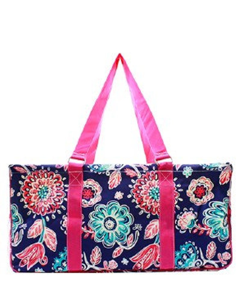 Canvas Flower All Purpose Large Utility Bag with free moogram