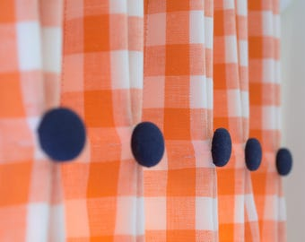 Gingham check full length drapes