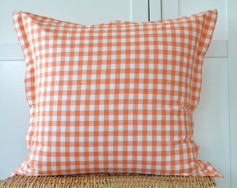 Orange gingham check Euro sham