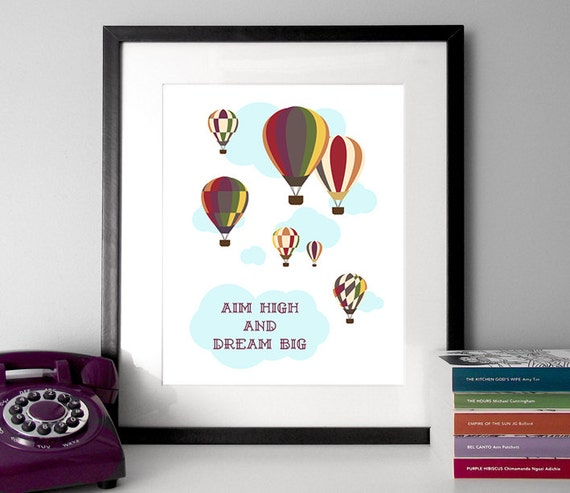Illustrated Quote Hot Air Balloon Dream Big Quote Etsy