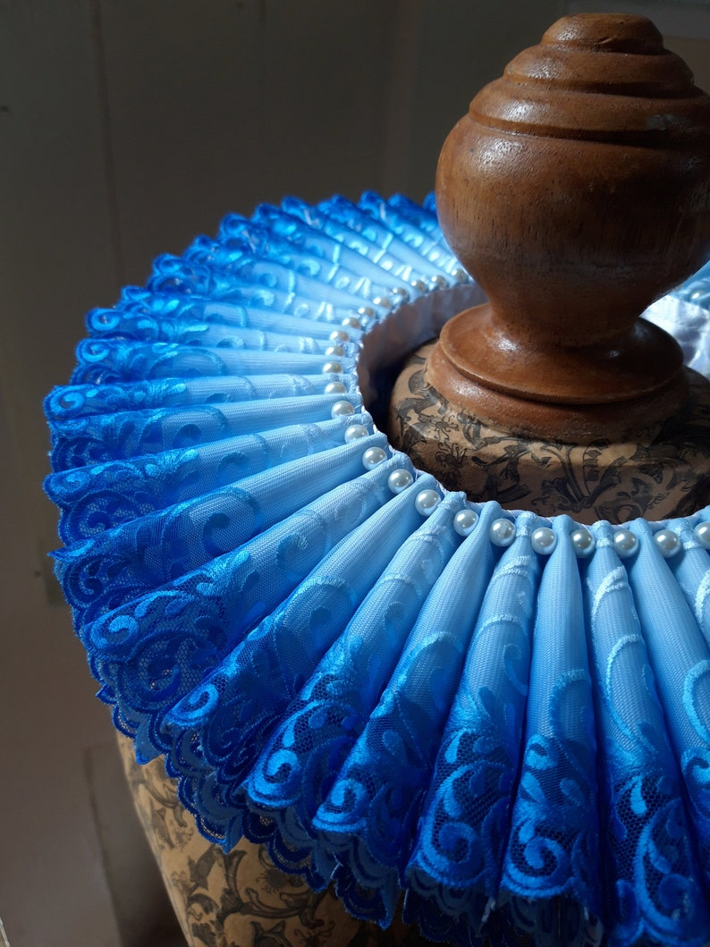 Tudor Renaissance Elizabethan Ruff  ombre blue to white image 0