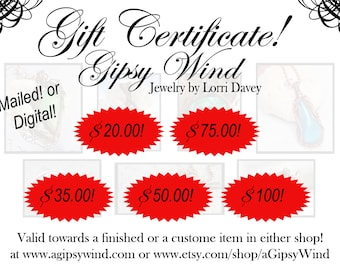 Handmade Jewelry Gift Certificates! Digital or USPS! Wire Wrapped