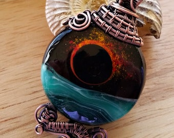 Tidal Eclipse, Handcrafted Wire Woven Pendant, REVERSIBLE, Ocean, Beach, Wirewrapped
