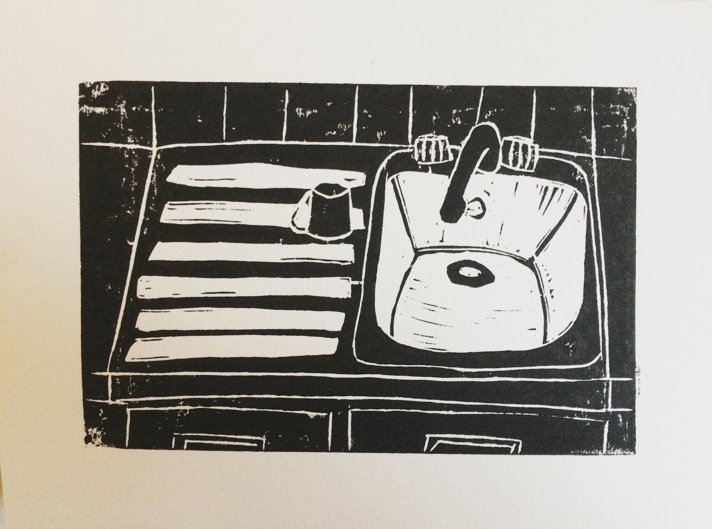 Küchenspüle Limited Edition Linoldruck