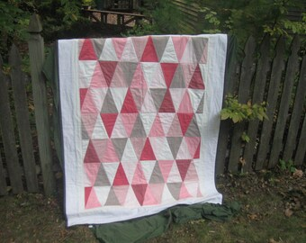 On sale***Modern Pink Triangle Lap Quilt