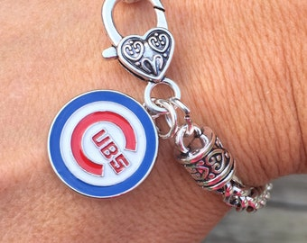 Silver Chicago Cubs Jewelry/Silver Chicago Cubs Bracelet Cuff!Designed by LydiaZ/Unique/Beautiful/Lightweight and stunning/charm bracelet