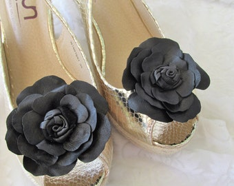 Wedding Shoe Clips Leather clips Rose shoe clip Italian handmade. Rose clips Black/&white rose clip Leather Shoe Clip Set of 2