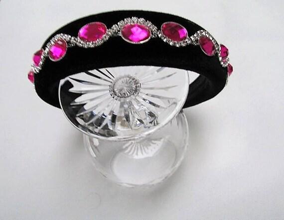 NEW Pink crystal glass stone smoke flower metal aliceband headband
