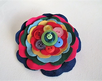 Colourful leather flower rainbow corsage, bright flower brooch, leather & button quirky festival boho flower corsage, rainbow flower pin