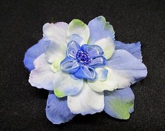 Blue flower hair clip, bridesmaid hair clip, blue silk flower hair accssory, wedding hair clip, party hair clip, girls croc clip, blue clip