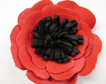 Red leather poppy, flower corsage, red & black leather flower, brooch pin, corsage, poppy hair clip, red flower shoe clips, red flower poppy