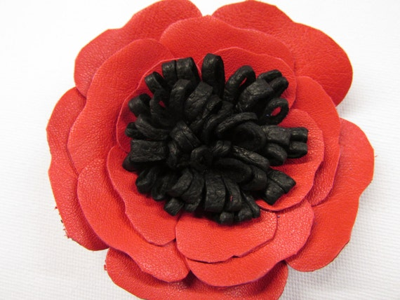 Red leather poppy flower corsage red black leather flower etsy image 0 mightylinksfo