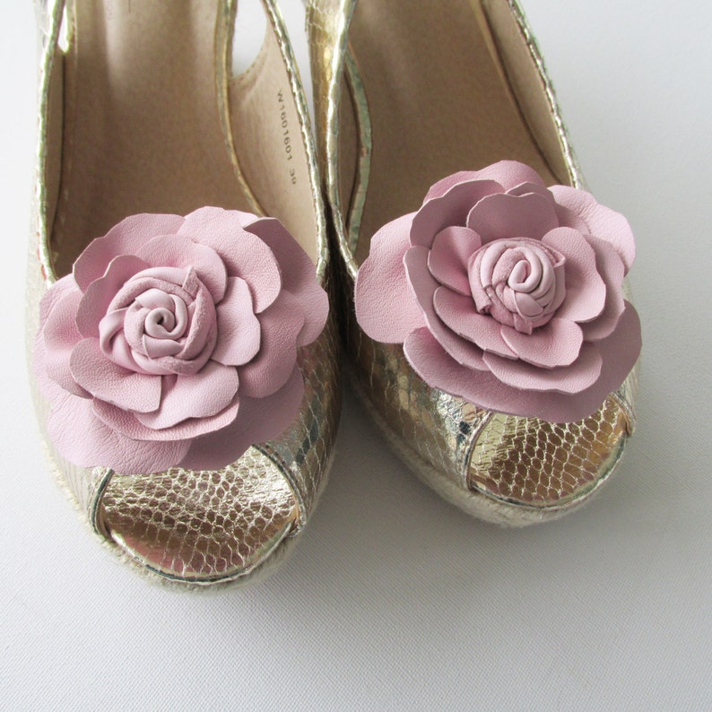 6c10a716fdaa Pink leather shoe clips summer wedding bridesmaid shoe