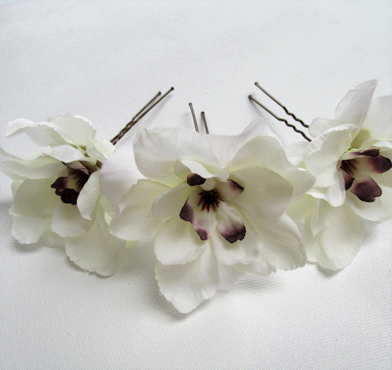 3 X Ivory Flower Hair Pins Wedding Hair Flowers Cream Hair Grip