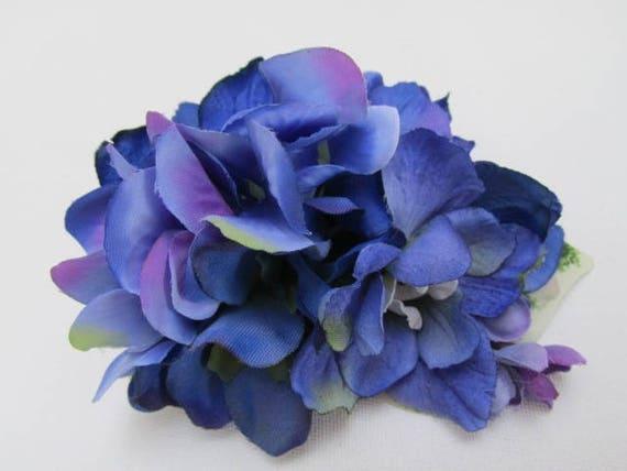 Blue fascinator silk flowers blue flower croc clip wedding etsy image 0 mightylinksfo