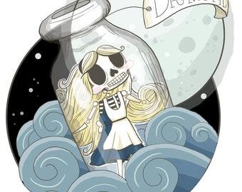Alice in the Bottle (Alice in Wonderland) Print